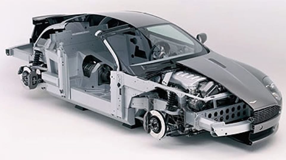 Cross section of Aston Martin car showing aluminium bending, machining and welding of parts